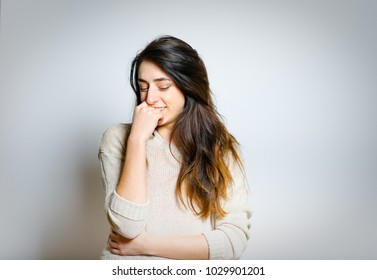 beautiful happy girl daydreaming, isolated photo on background