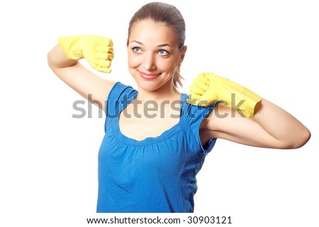 Beautiful Happy Housewife Rubber Gloves Hands Stock Photo