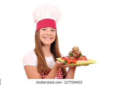 beautiful happy little girl cook with spaghetti and meatballs