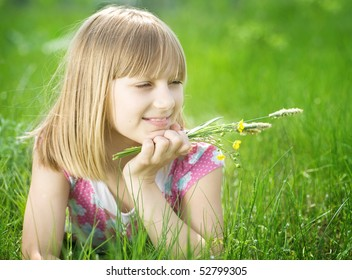 Beautiful Happy little Girl outdoor
