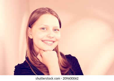 Beautiful happy lovely teen girl smiling