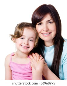 Beautiful happy mother with little pretty smiling daughter - white background