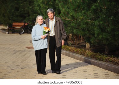 beautiful happy old people walking in the spring park