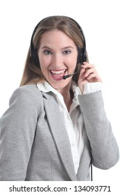 Beautiful and happy phone operator woman isolated on a white background