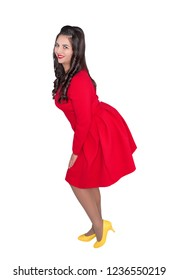 Beautiful happy plus size woman in red dress isolated on white
