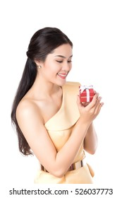 Beautiful happy smiley Asian women holding red gift box, present, isolated on white background.