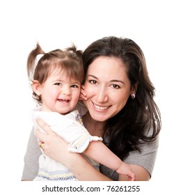 Beautiful happy smiling mother and baby toddler daughter family together, isolated.