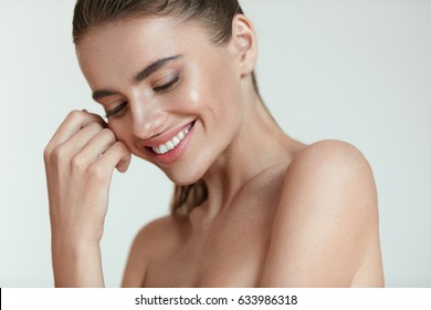Beautiful Happy Smiling Young Woman With Fresh Natural Facial Makeup On Beauty Face. Closeup Portrait Of Sexy 