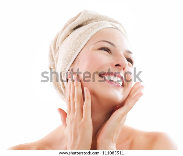 Beautiful Happy Spa Girl Isolated on a White Background.Touching