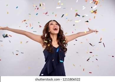 Beautiful Happy Woman Celebration Party Confetti Stock Photo (Edit ...
