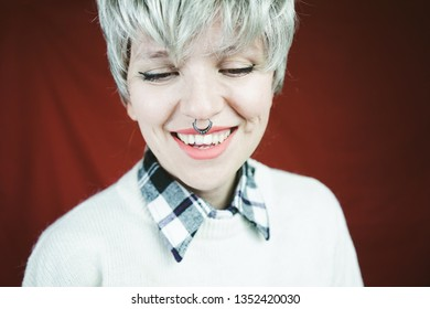 Beautiful and happy woman with gray hair