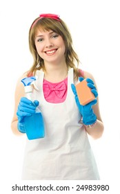 beautiful happy young housewife with a sponge and a bottle of detergent in her hands