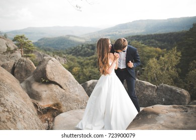 Beautiful happy young wedding couple posing on a background of rock cliff