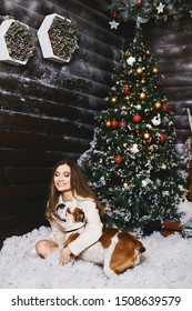 Beautiful and happy young woman with bright makeup hugs cute french bulldog and posing near the Christmas tree at interior decorated for New year