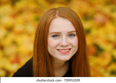 Beautiful and happy young woman with flowing red hair and blue eyes smiling to the camera against a background of yellow and orange fallen leaves in the park. Positive emotions and happiness concept.
