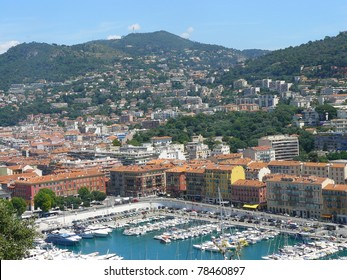 Beautiful harbor of Nice with big cruise ships, France, Europe. Cote D'Azur.