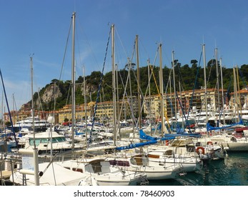 Beautiful harbor of Nice with boats, France, Europe. Cote D'Azur.