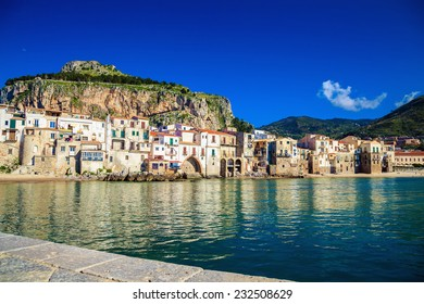 beautiful harbor view of Mediterranean town Cefalu in the province of Palermo, Sicily