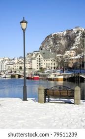 The beautiful harbour in Alesund, Norway