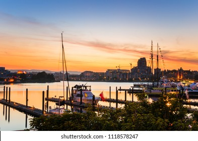 Beautiful Harbour at Twilight. Victoria, BC, Canada.