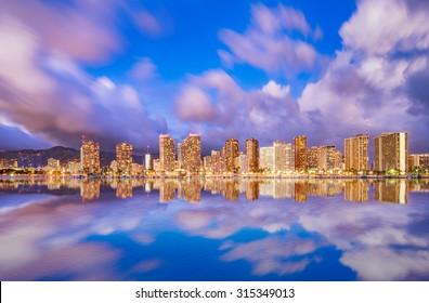 Beautiful Hawaii skyline and reflection at twilight