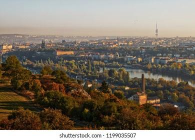 Beautiful HDR landscape panorama of Prague with vysehrad castle taken from Zvahov hill.