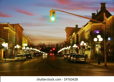 Beautiful HDR scene of a small town at night