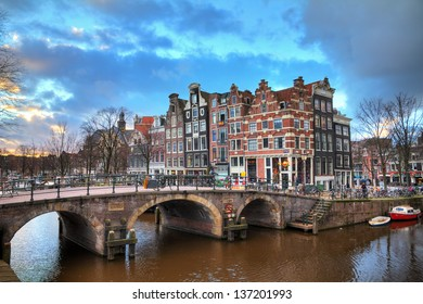 Beautiful HDR sunset view on the Brouwersgracht in Amsterdam, the Netherlands, a UNESCO world heritage site.
