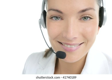 Beautiful headset businesswoman portrait with white suite