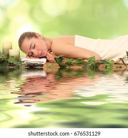 Beautiful Healthy Caucasian Girl Relaxing In The Spa Salon.