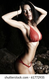 Beautiful healthy fit woman wearing red bikini