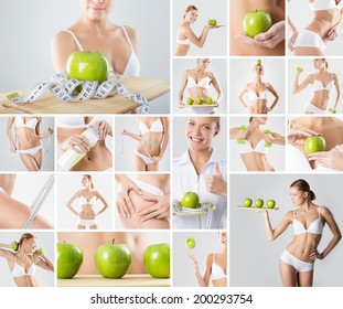 Beautiful healthy lifestyle theme collage.