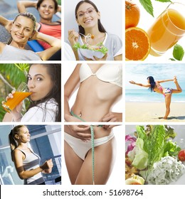 beautiful healthy lifestyle theme collage made from few photographs