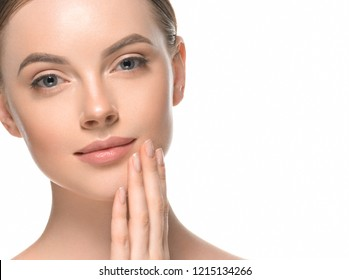 Beautiful healthy skin woman face closeup isolated on white cosmetic concept