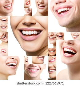 Beautiful healthy wide smiles with great healthy white teeth. Smiling happy people. Laughing female and male mouths. Teeth health, whitening, prosthetics and care