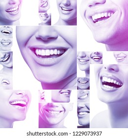 Beautiful healthy wide smiles with great healthy white teeth. Smiling happy people. Laughing female and male mouths. Teeth health, whitening, prosthetics and care, image toned