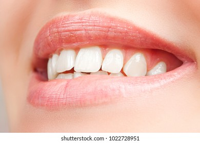 Beautiful and healthy woman smile, close up