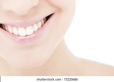 Beautiful and healthy woman smile, close-up