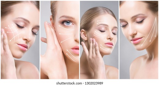 Beautiful, healthy and young female portraits. Collage of different women faces. Face lifting, skincare, plastic surgery and make-up concept.