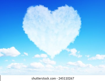 Beautiful Heart clouds representing love for valentine's day