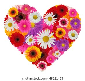 Beautiful heart made of blooms isolated on white