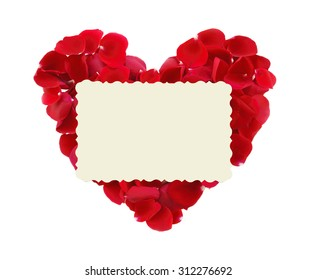 beautiful heart of red rose petals and greeting card isolated on white