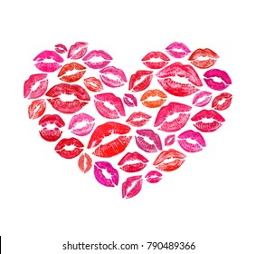 Beautiful heart shape made with colourful lips