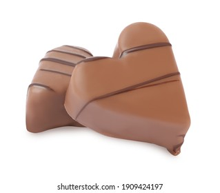 Beautiful heart shaped chocolate candies on white background