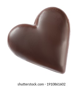 Beautiful heart shaped chocolate candy isolated on white