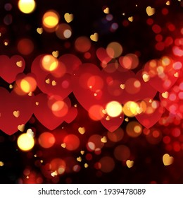 Beautiful Heart Shapes Background with Light Bokeh for Valentine.
