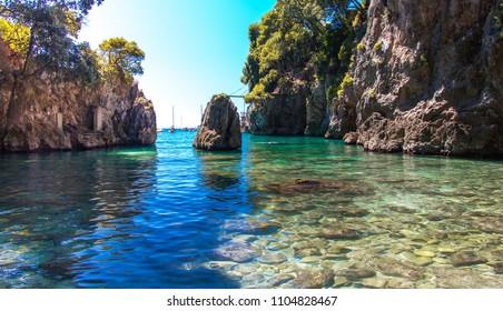 Beautiful hidden beach in Lerici, Cinque Terre, Italy
