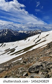Beautiful high altitude alpine landscape with snow capped peaks, Rocky Mountains, Colorado