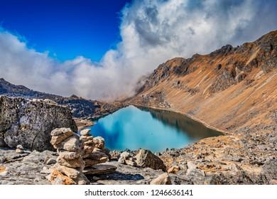 Beautiful high altitude Gosainkunda lake in Nepal