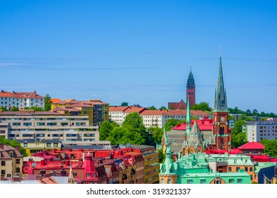 Beautiful high angle view of  Gothenburg city downtown on a summer day